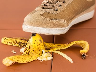 Banana skin leads to accident