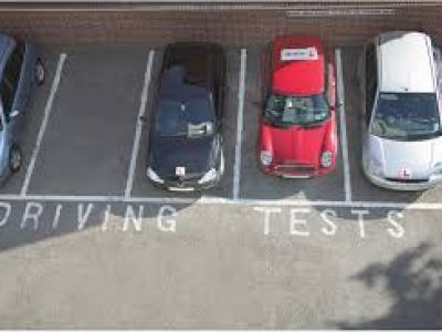 Cars at driving test centre