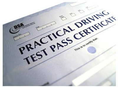 Image of driving test pass form