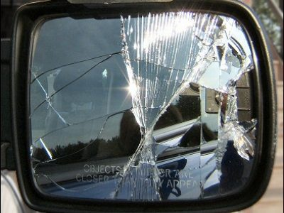 Damaged car door mirror