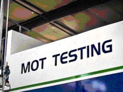Image of sign at MOT testing station