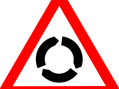 Sign for roundabout ahead
